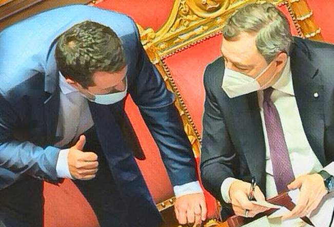 Draghi decide solo se può bastonare Salvini
